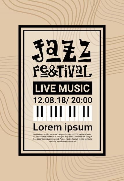 Jazz festival live music concert cartaz anúncio retro banner Vetor Premium