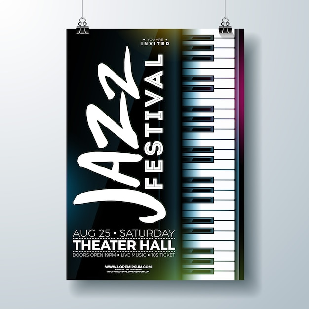 Jazz music festival flyer design com teclado de piano Vetor Premium