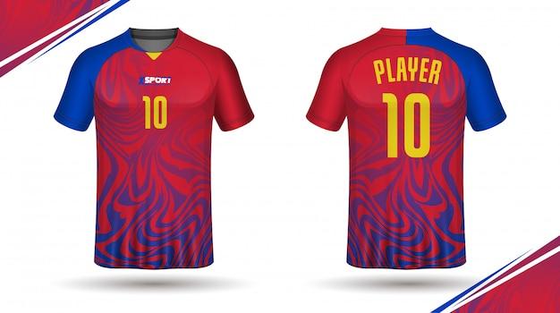 Jérsei de futebol modelo esporte-design de t-shirt Vetor Premium