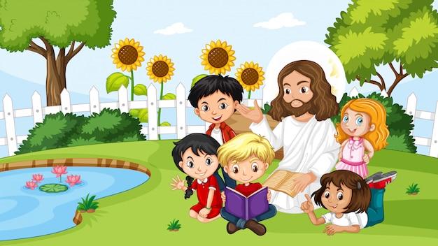 Jesus com crianças no parque Vetor Premium