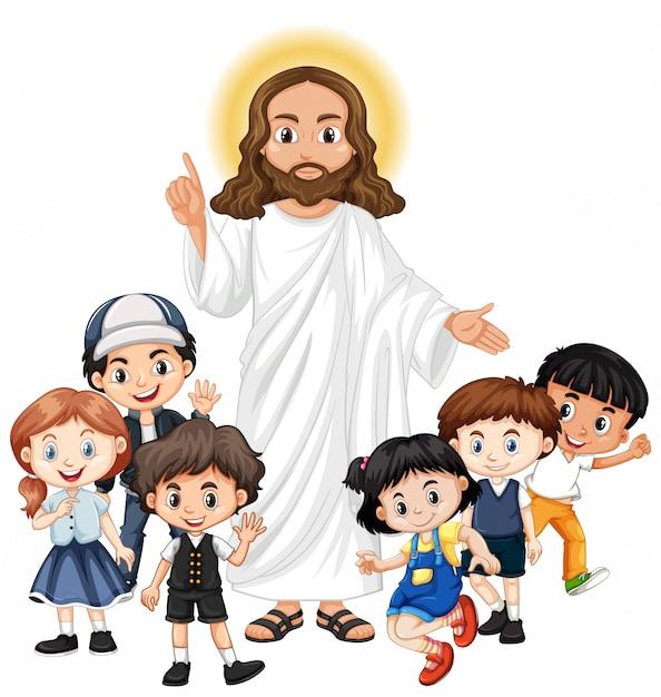 Jesus com um personagem de desenho animado do grupo infantil Vetor Premium