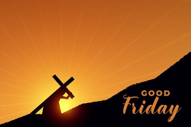 Jesus cristo carregando cruz para sua cena de crucificação Vetor grátis