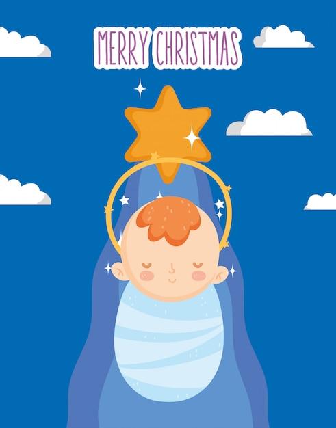 Jesus jesus estrela manjedoura natividade, feliz natal Vetor Premium