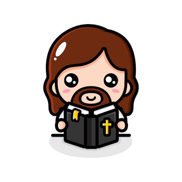 Jesus lendo o personagem da bíblia Vetor Premium