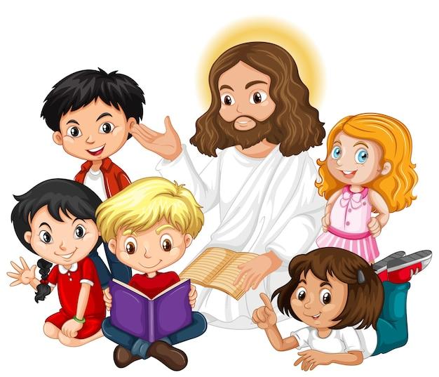 Jesus pregando para um personagem de desenho animado de um grupo infantil Vetor grátis