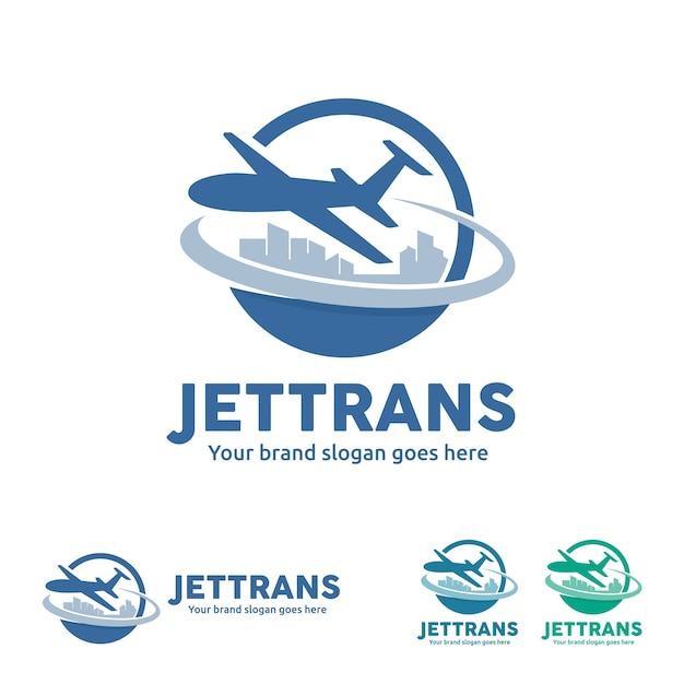 Jet aircraft with globe e city skyline symbol for travel agency, companhia de turismo, air ticket agency, transporte aéreo de negócios. Vetor Premium