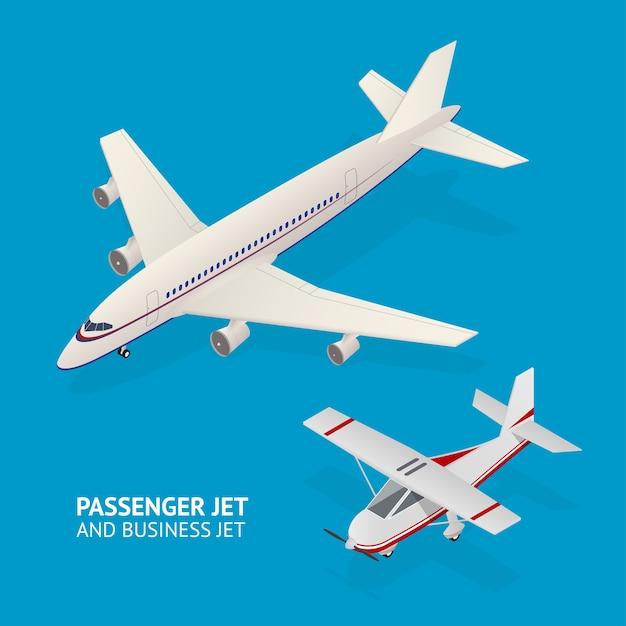 Jet set. vista isométrica. transporte de passageiros Vetor Premium