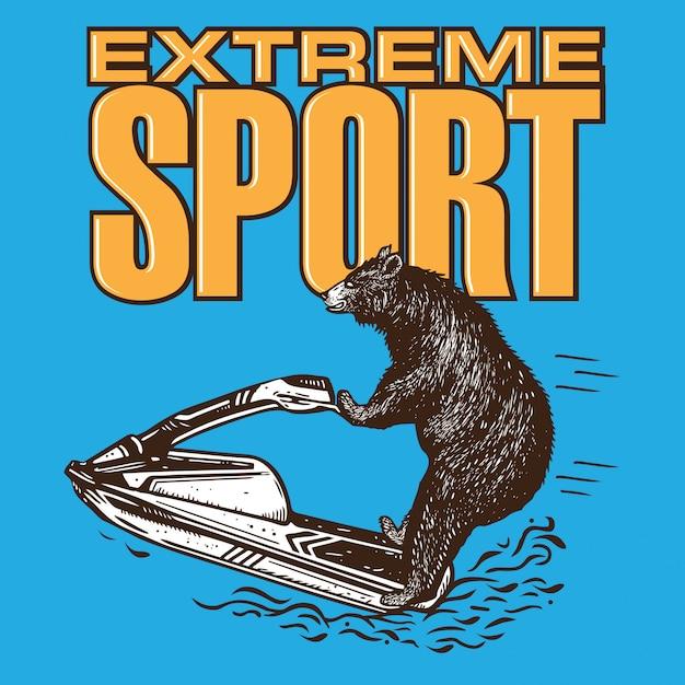 Jet ski de equitação de urso Vetor Premium