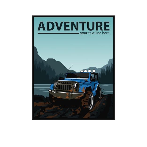 Jipe azul e o rio Vetor Premium