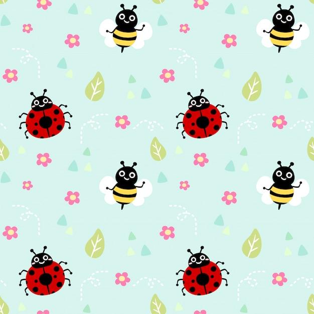 Joaninha e abelha padrão sem emenda Vetor Premium