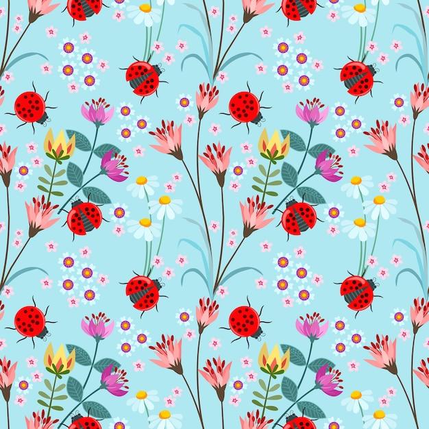 Joaninha sem costura com ilustração em vetor flor padrão Vetor Premium