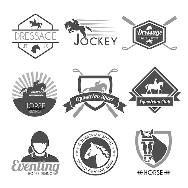 Jockey label set Vetor grátis