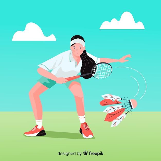 Jogador de badminton com raquete e penas Vetor grátis