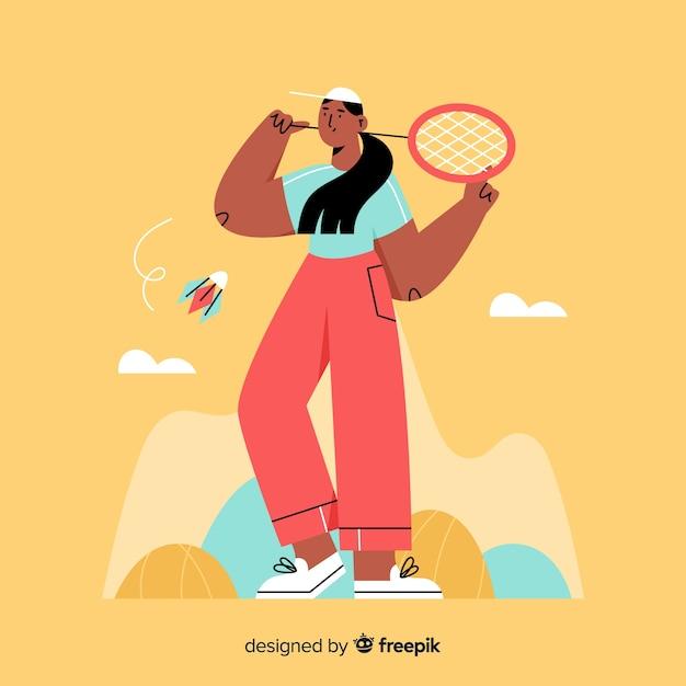 Jogador de badminton de mão desenhada com raquete Vetor grátis