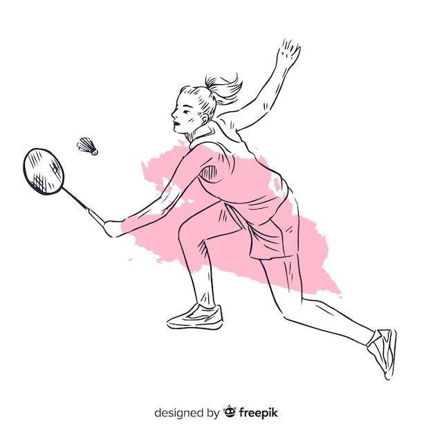 Jogador de badminton Vetor grátis