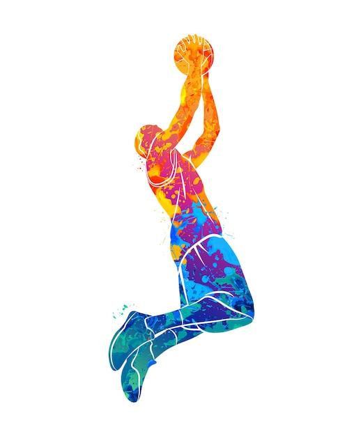 Jogador de basquete abstrato com bola de respingo de aquarelas. ilustração de tintas. Vetor Premium
