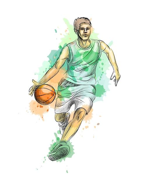 Jogador de basquete abstrato com bola de um toque de aquarela, esboço desenhado de mão. ilustração de tintas Vetor Premium