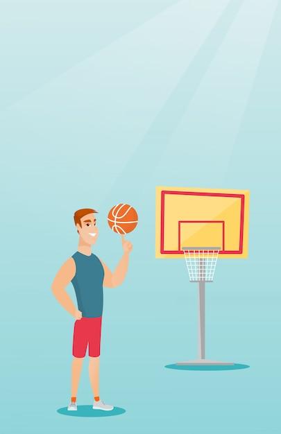 Jogador de basquete caucasiano novo girando uma bola. Vetor Premium