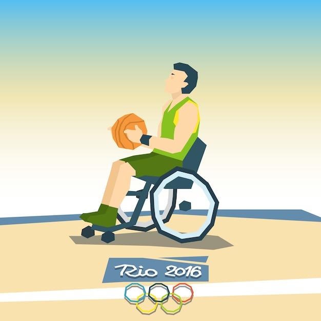 Jogador de basquete com deficiência na competição de esporte de cadeira de rodas Vetor Premium