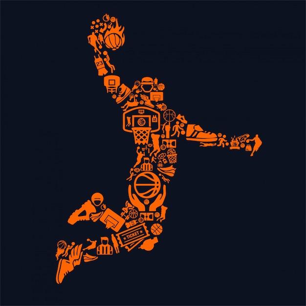 Jogador de basquete Vetor Premium