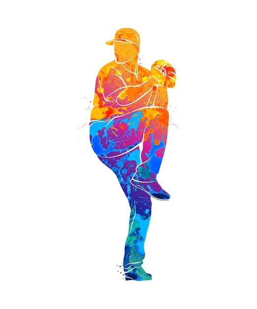 Jogador de beisebol abstrato batendo na bola com respingos de aquarelas. ilustração de tintas. Vetor Premium
