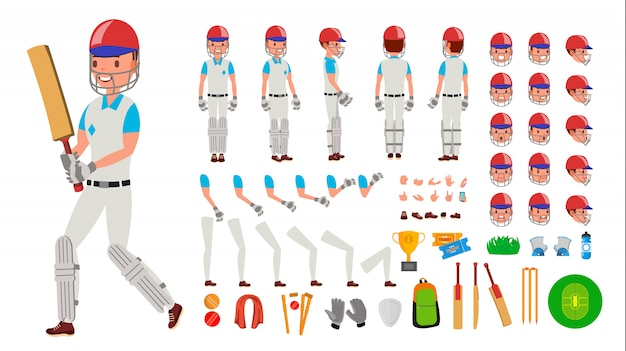 Jogador de críquete masculino Vetor Premium