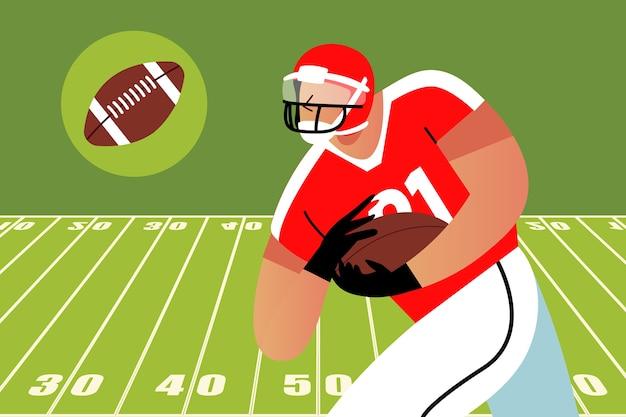 Jogador de futebol americano correndo com a bola Vetor grátis