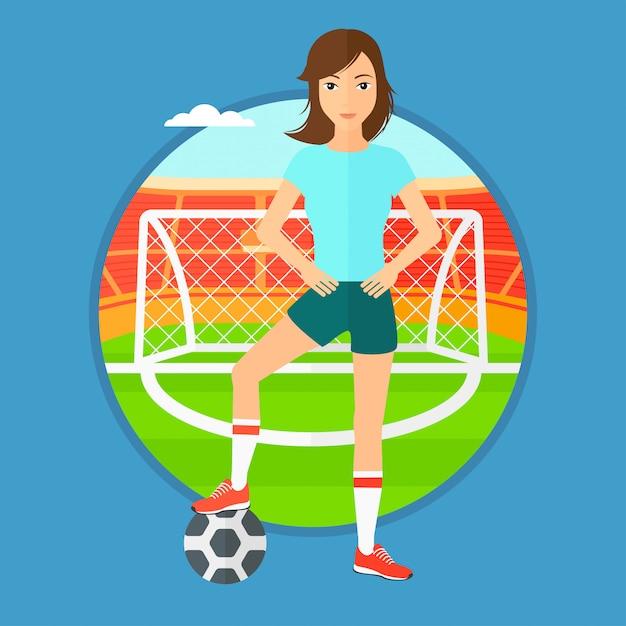 Jogador de futebol com bola. Vetor Premium