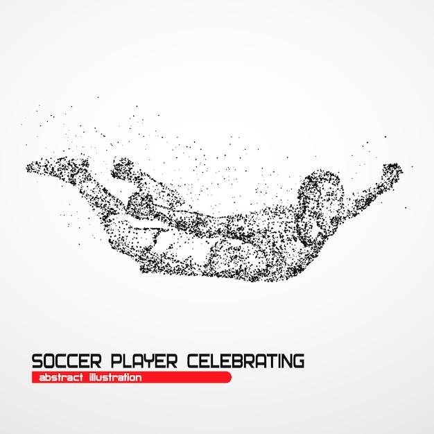 Jogador de futebol feliz após o goleiro da vitória em um fundo branco. ilustração. Vetor Premium