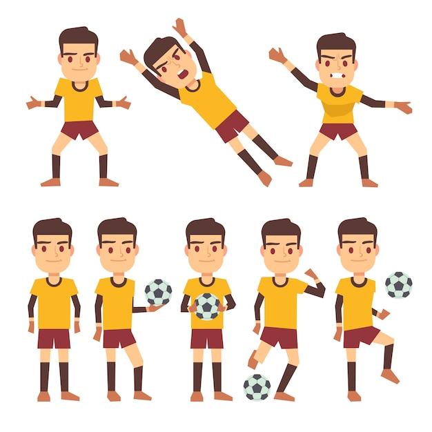 Jogador de futebol, jogador de futebol, goleiro em diferentes poses de jogos conjunto de personagens planas. Vetor Premium