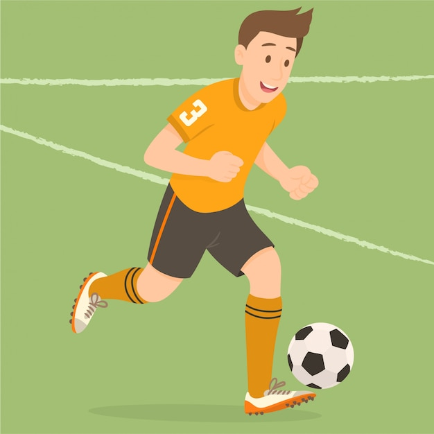 Jogador de futebol masculino Vetor Premium