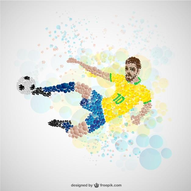 Jogador de futebol no ataque Vetor grátis