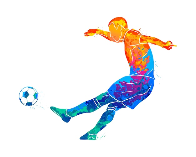 Jogador de futebol profissional abstrato rápido, atirando uma bola do respingo de aquarelas. ilustração de tintas Vetor Premium