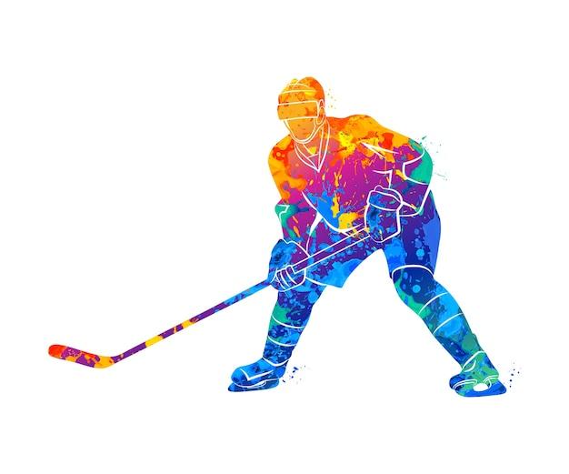 Jogador de hóquei abstrato de um toque de aquarelas. ilustração de tintas. Vetor Premium