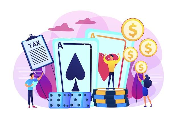 Jogador de pôquer, personagem plano do sortudo vencedor do cassino. rendimentos do jogo, tributação dos rendimentos do jogo, conceito de operações de apostas legais. Vetor grátis