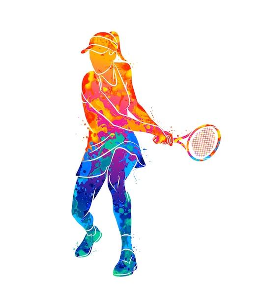 Jogador de tênis abstrato com uma raquete de respingos de aquarelas. ilustração de tintas Vetor Premium