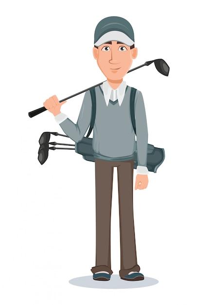 Jogador golfe, bonito, golfer Vetor Premium