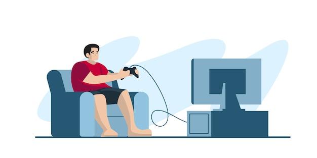 Jogador profissional segurando o controlador de almofada, jogar video game na tela da tv. jogador de e-sports, conceito de jogadores profissionais. modelo de banner de cabeçalho ou rodapé. ilustração escalável e editável. Vetor Premium