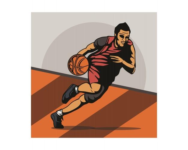 Jogadores de basquete driblam a bola durante a prática do personagem vintage Vetor Premium