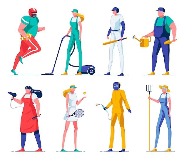 Jogadores de esporte, agricultores, limpadores de personagens planas. Vetor Premium