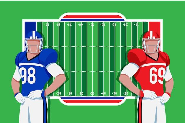 Jogadores de futebol americano na frente do campo Vetor grátis