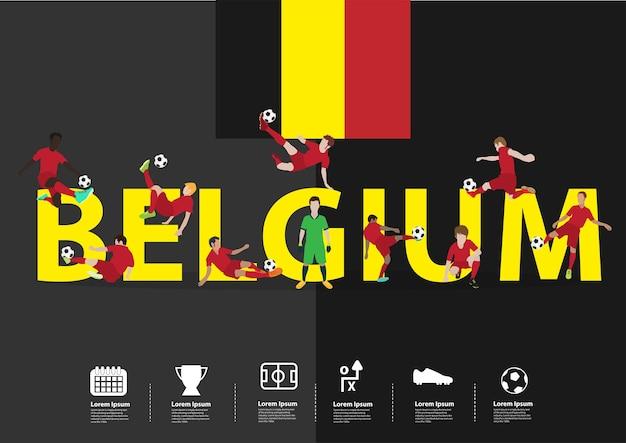 Jogadores de futebol em ação no texto da bélgica Vetor Premium