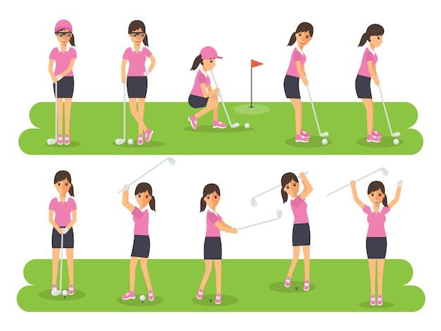 Jogadores de golfe, atletas de esporte de golfe em ações. Vetor Premium