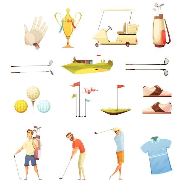 Jogadores de golfe e coleção de ícones retrô dos desenhos animados acessórios com luvas de colocar bandeiras Vetor grátis