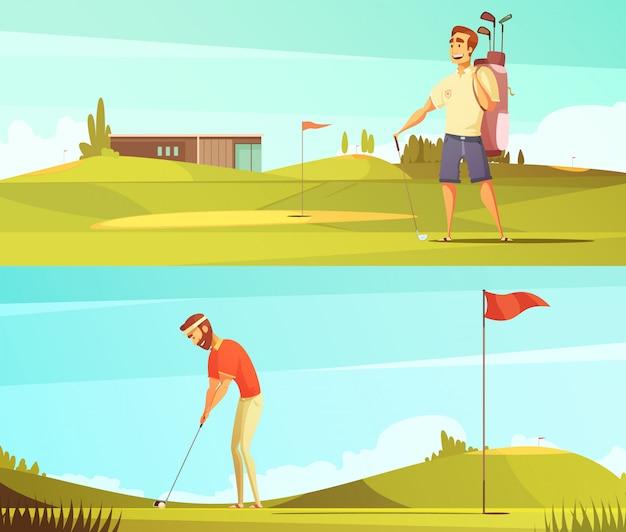 Jogadores de golfe no curso 2 banners horizontais dos desenhos animados retrô cravejado de pino vermelho bandeira isolado vector illu Vetor grátis