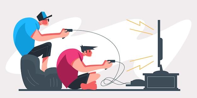 Jogadores profissionais de duas pessoas segurando o controlador pad jogando videogame na tela da tv. jogador de e-sports, conceito de jogadores profissionais. modelo de banner de cabeçalho ou rodapé. ilustração escalável e editável. Vetor Premium