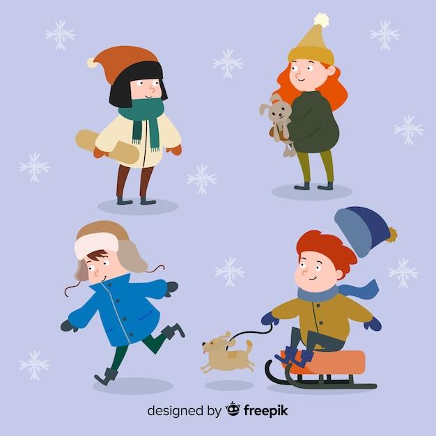 Jogando coleção de crianças de inverno Vetor grátis