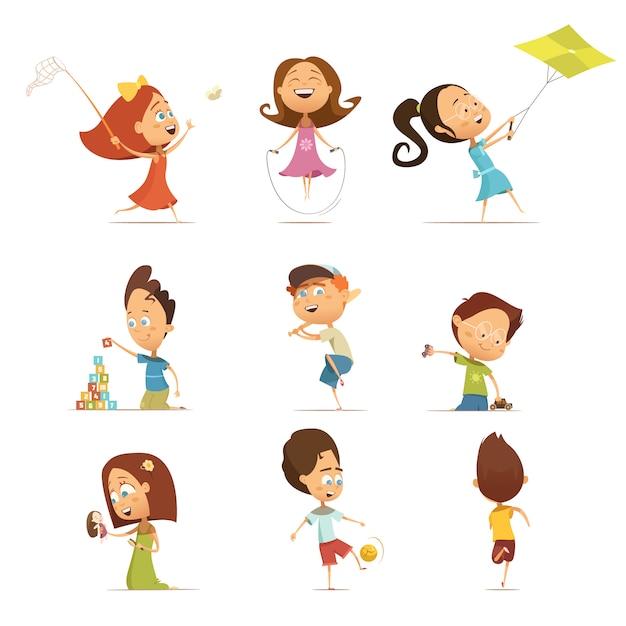 Jogando desenhos animados de crianças conjunto com kite e futebol símbolos isolados vector illustration Vetor grátis