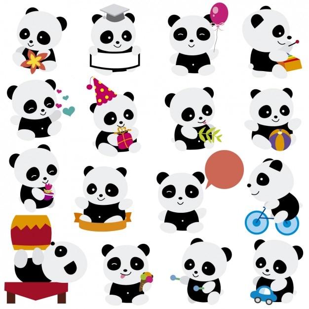 Jogando desenhos animados pandas Vetor grátis