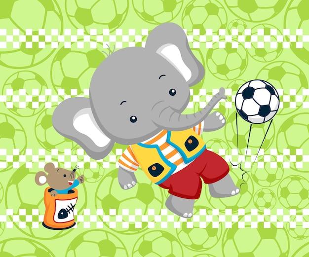 Jogando futebol com desenhos animados de animais Vetor Premium